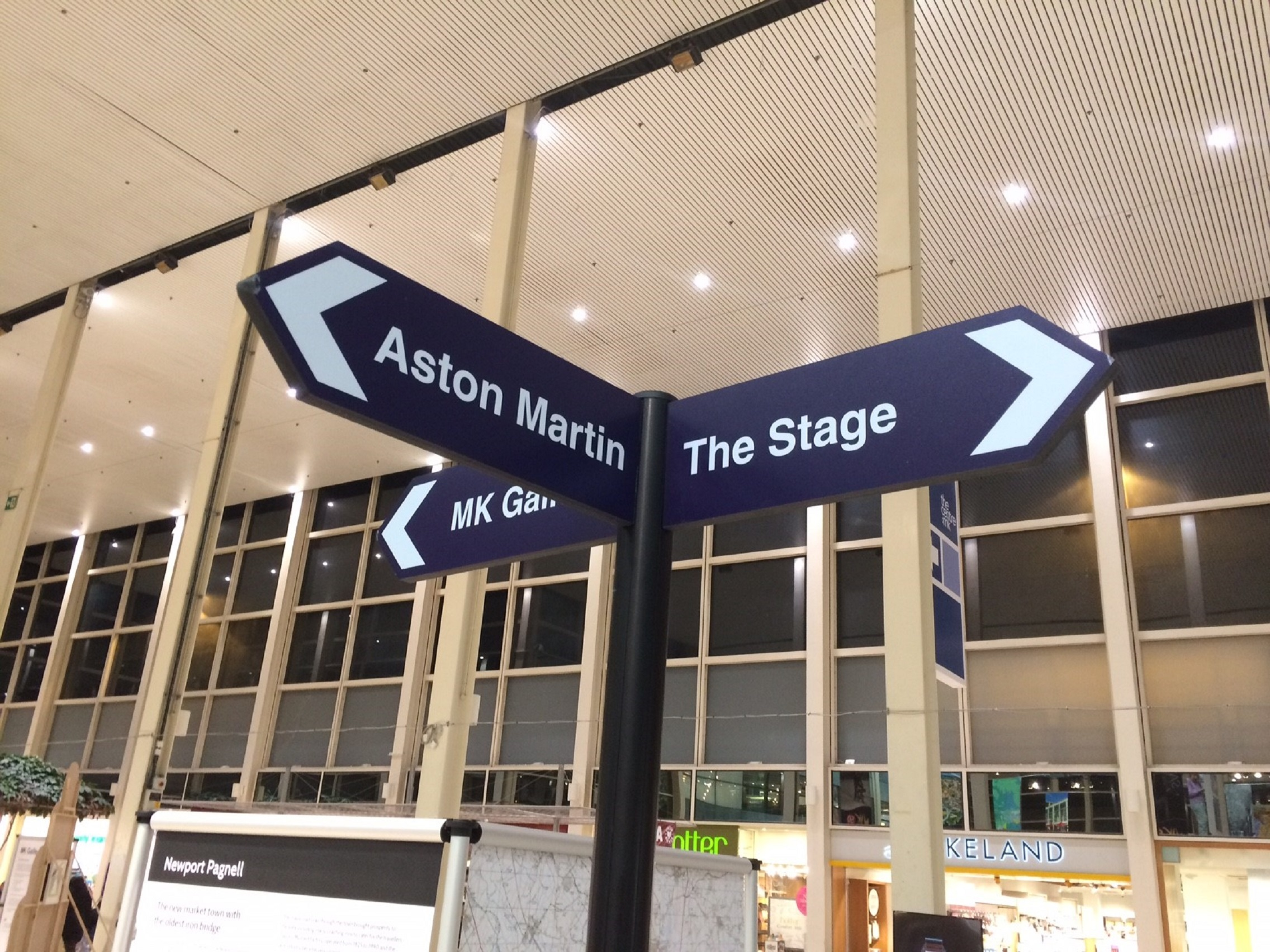 finger post sign in Central Milton Keynes Shopping centre